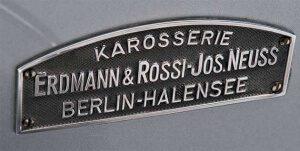 Erdmann & Rossi Plakette der 1930er-Jahre, mit Hinweis auf die übernommene Firma Jos. Neuss